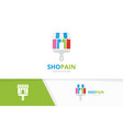 store and brush logo combination market vector image vector image