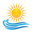 sun and waves logo vector image vector image