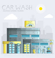 thin line 24 7 working car wash with different vector image