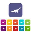 titanosaurus dinosaur icons set flat vector image vector image