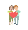Two Kids In Love Holding Giant Heart vector image vector image