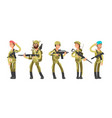us army cartoon man and woman soldiers in uniform vector image vector image