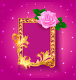 vintage background frame with rose and gold vector image