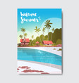 welcome summer house hotel palm tree sunrise beach vector image