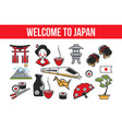 welcome to japan promo banner with national vector image vector image