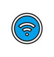 wifi signal flat color line icon isolated on vector image