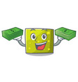 with money bag square mascot cartoon style vector image vector image