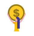 woman holding big coin money vector image vector image
