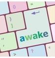 awake word on keyboard key notebook computer vector image vector image