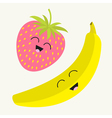 Banana and strawberry Happy fruit set Smiling face vector image
