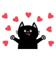 black cat head face hand paw print heart icon vector image vector image