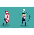 Blindfold businessman look for target vector image
