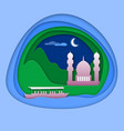 boat at sea with mosque near mountain tourist vector image vector image