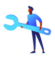 bsinessman is holding huge wrench vector image vector image