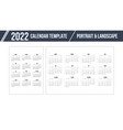calendar grid for 2022 year on white background vector image vector image