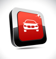 Car 3d square button vector image vector image