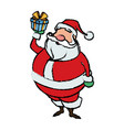 cartoon santa claus holding gift box for your vector image vector image