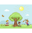 children walk in nature vector image