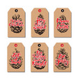 christmas vintage gift tags set with pine cone vector image