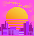 city at sunset in retrowave style vector image vector image