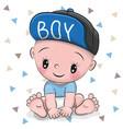cute cartoon baby boy in a cap vector image vector image