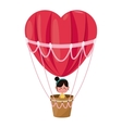 cute girl flying heart airballoon valentine day vector image vector image