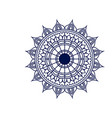 dark blue silhouette flower mandala vintage vector image