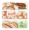 dumpling and ravioli banner chinese cuisine set vector image
