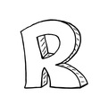 English alphabet - hand drawn letter R vector image vector image