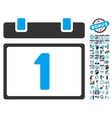 First Day Calendar Page Flat Icon With vector image