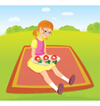 Girl on picnic and sandwiches vector image