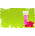 Green banner with glass of juice and hibiscus vector image vector image