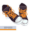 grey sneakers on white bacground vector image