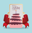 happy birthday cake card festive vector image