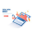 isometric web banner digital tablet with social vector image vector image