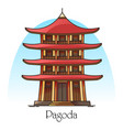 japanese or chinese pagodachina or japan building vector image vector image