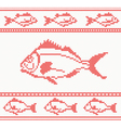 Knitted seamless pattern with fish vector image vector image