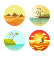 landscape round icons colorful set isolated on vector image vector image