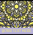 leaflet with yellow mandala pattern and ornament vector image