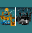 london city at night with famous city landmarks vector image vector image