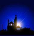 mosque silhouettes against night sky vector image vector image