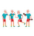 old man poses set elderly people senior vector image vector image