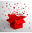 open red gift box and heart confetti christmas vector image