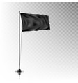 realistic black flag on steel pole on background vector image