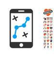 route smartphone icon with lovely bonus vector image