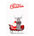 Santa and reindeer Christmas background vector image vector image