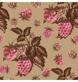 Seamless pattern with pink raspberries on beige vector image