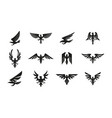 set black heraldic eagle symbols on white vector image vector image