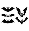 set halloween icons monster bats vector image