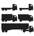 set of black and white silhouette icons of trucks vector image vector image